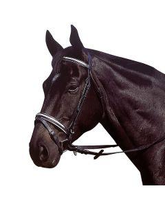 EXCELSIOR Trensenzaum, Leder schwarz mit weißer Flechte