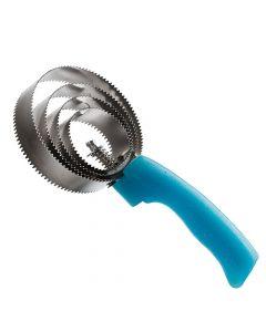 Runder Metallstriegel mit Glittergriff hellblau
