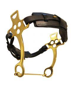 L-Sport Hackamore mit größenverstellbarem Nasenriemen-gold