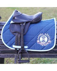 L-Sport Komplettset Sattel mit Schabracke für Holzpferd Polo Edition-marine-hellblau