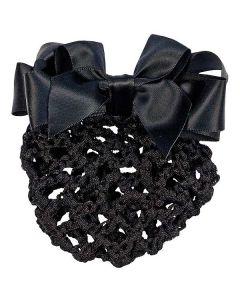 Haarnetz mit Satinschleife schwarz